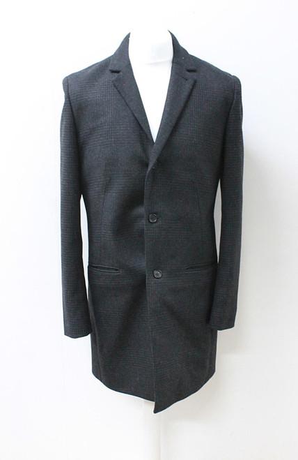 ALL SAINTS Men's Jasper Black & Grey Single Breasted Wool Blend Blazer Coat UK40