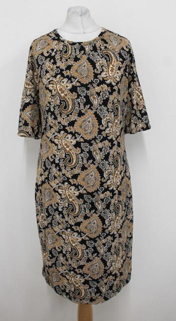MICHAEL KORS Ladies Black Golden Paisley Print Short Sleeve Dress Size S