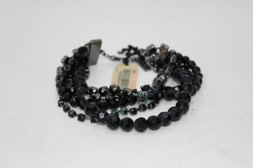 L.K.BENNETT Ladies Black Beaded Studded Clasp Fastened Statement Bracelet