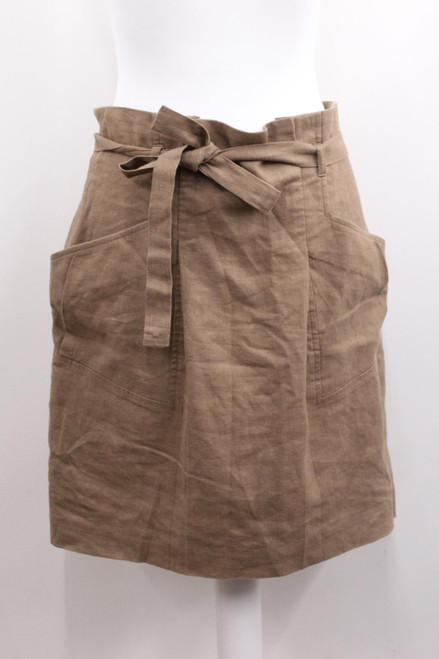 BCBG MAX ARIA Brown Tie-Up Waist Knee Length Linen Skirt w Pockets M NWOT