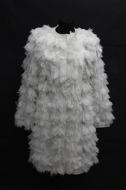 BCBG MAX AZRIA Ladies Ivory Scoop Neck Zip-Up Long Sleeve Denim Jacket XXS