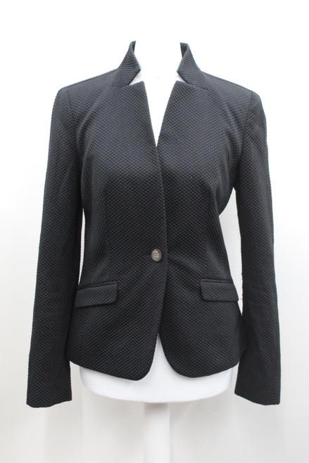 TED BAKER Ladies Black Cotton Blend V Neck Long Sleeve Single Button Blazer S