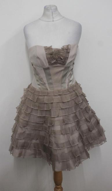 KAREN MILLEN Ladies Beige Dusty Pink Corset Flared Cocktail Dress Size UK8