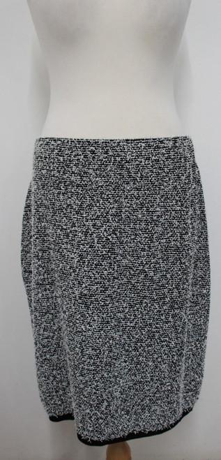 CALVIN KLEIN Ladies Black White Textured Stretchy Pencil Skirt Size 2XL UK18-20