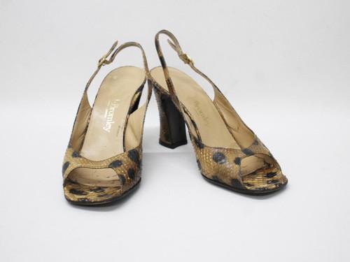 RUSSELL & BROMLEY Ladies Brown Black Animal Slingback Sandal Shoes EU37 UK4