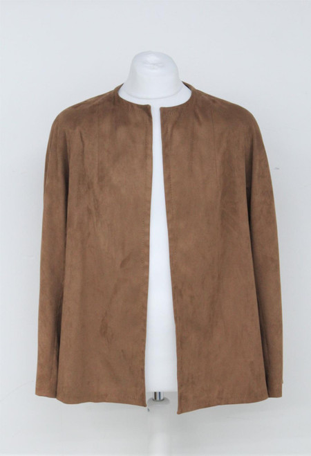 AQUASCUTUM Ladies Brown Faux Leather Round Neck Open Front Jacket Approx. XL
