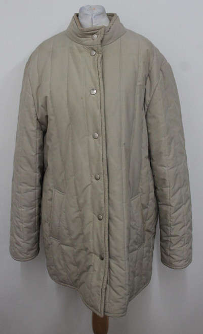 AQUASCUTUM Ladies Beige Collared Long Sleeve Quilted Jacket Size Approx. L