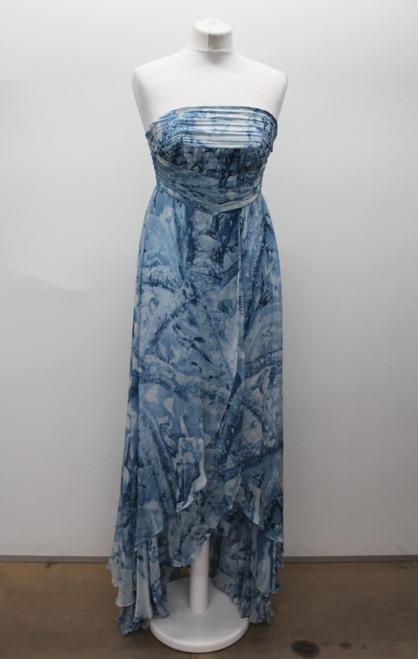 HUG BOSS Orange Ladies Light Blue Silk Strapless Abstract Pattern Dress Size XS