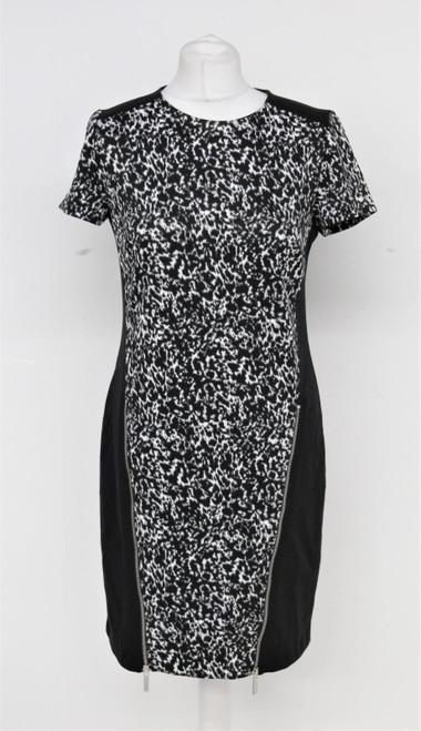 MICHAEL KORS Black & White Speckle Zip Detail Short Sleeve Shift Dress UK8