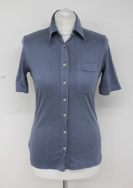 JAEGER Ladies Blue 100% Cotton Short Sleeve Collared Shirt Approx. Size S