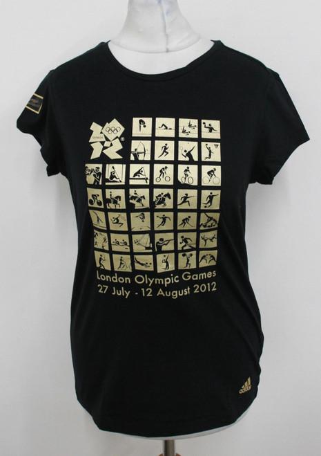 ADIDAS Ladies Black London Olympics 2012 Official TRP Picto Tee UK14 BNWT