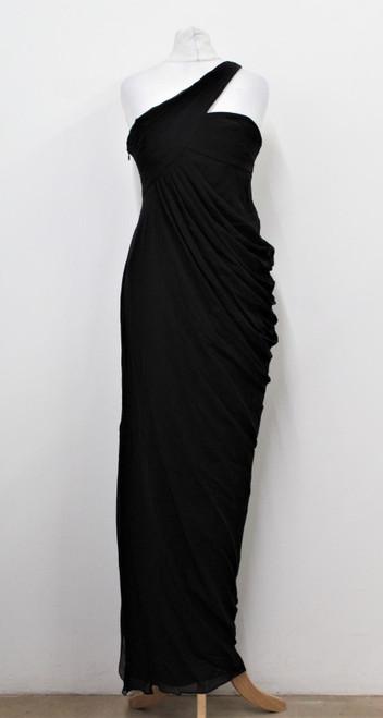 ARMANI Ladies Black Silk Pleated One Shoulder Strap Ballgown Dress UK10 IT40