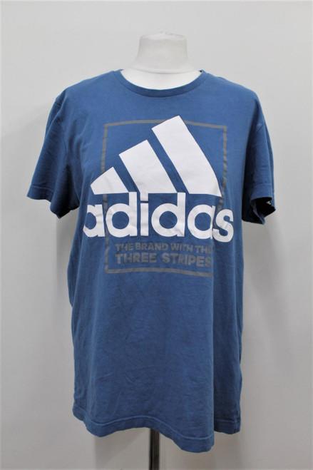 ADIDAS Ladies Blue Cotton Short Sleeve Print Logo Graphic T-Shirt Size L
