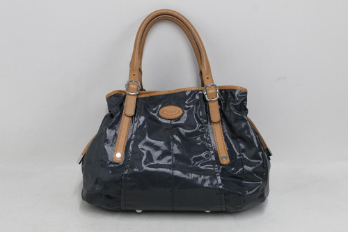 TOD'S Ladies Metallic Blue Textured Leather Trim Snap Button Small Shoulder Bag