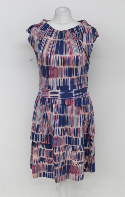 MARC JACOBS Ladies Multicoloured Striped Knee Length Cap Sleeve Tiered Dress M