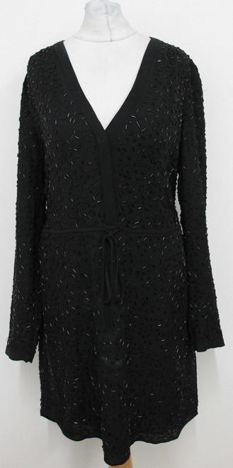 DIANE VON FURSTENBERG Ladies Black Silk Beaded Embroidered Shift Dress US6 UK10