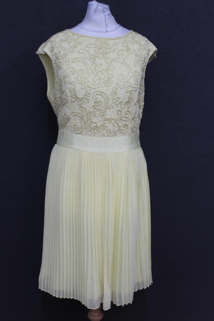 TED BAKER Ladies Beige Floral Pattern Boat Neck Sleeveless Dress Size 3/Medium