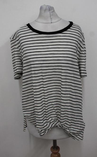ALL SAINTS Ladies Ecru White Black Short Sleeve Wilma Striped T-Shirt M BNWT