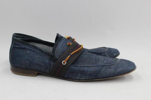 MIU MIU Men's Blue Denim Style Canvas Upper Low Block Heel Loafers UK9.5