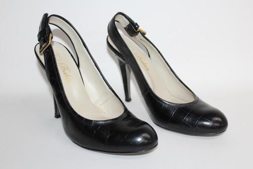 TED BAKER Ladies Black Croc Print Leather Slingback Stiletto Heel Shoes EU40 UK7