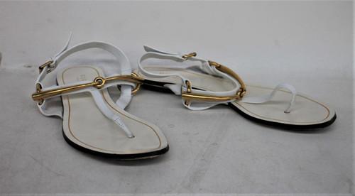 GUCCI Ladies White/Gold Faux Leather Ankle Strap Sandals Shoes UK4.5 EU37.5