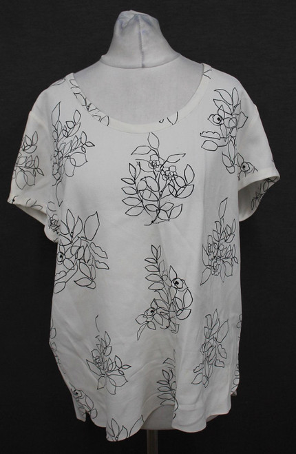 MULBERRY Ladies White Black Flower Sketch Print Short Sleeve Blouse UK12