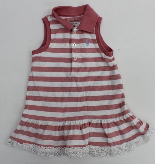 RALPH LAUREN Baby Girls Pink/White Striped Collared Sleeveless Dress Size 12M