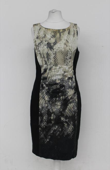 KAREN MILLEN Ladies Black Beige Knee Length Snake Print Sheath Dress UK10
