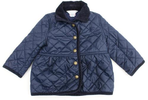 RALPH LAUREN Baby Girls Navy Blue Quilted Collared Popper Jacket Size 12M