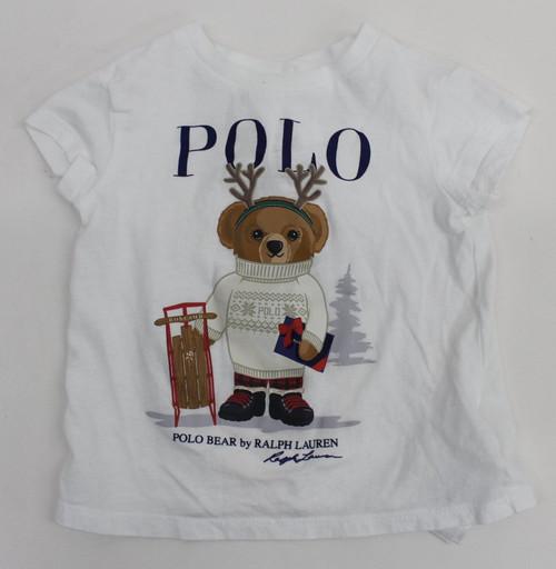 RALPH LAUREN Baby Girls White Winter Sled Polo Bear Crew Neck T-Shirt Size 9M