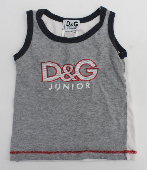 DOLCE & GABANNA Junior Baby Boys Grey/White/Red Spellout Vest Top Size 18M-24M