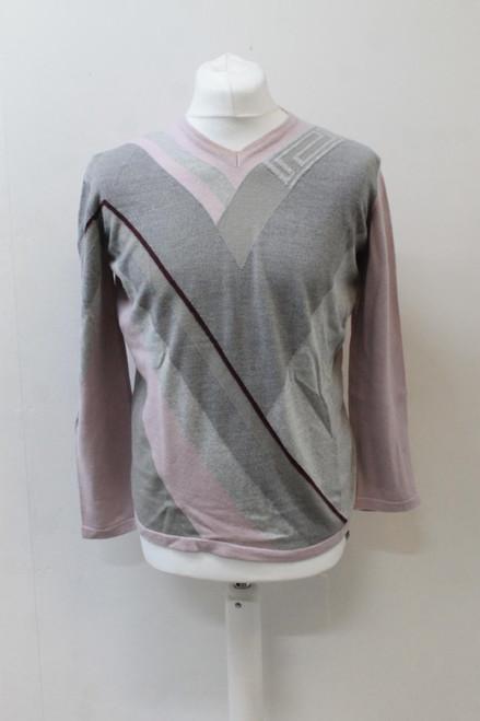 VERSACE Men's Classic Multi-Coloured V-Neck Long Sleeve Pullover Jumper XXL