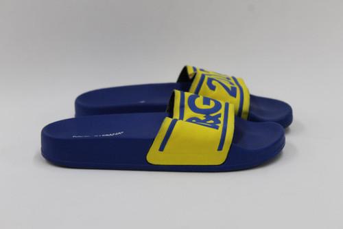 DOLCE & GABBANA Boy's Blue Yellow Graphic Thick Strap Sliders Sandals UK13 EU32
