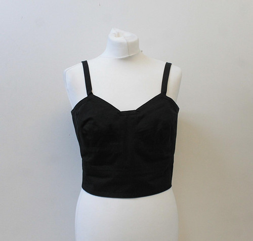 ISABEL MARANT Ladies Black Cotton Rear Zip Pure Cotton Bodice Top UK12 EU40