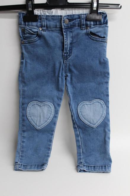 STELLA MCCARTNEY Girls 36 Months Light Blue Cotton Knee Heart Jeans Size W20L12