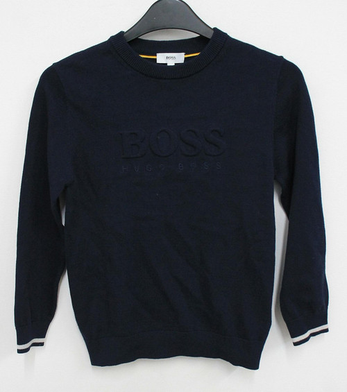 HUGO BOSS Kids Boys Dark Blue Cotton Logo Embroidery Jumper 8 Years BNWT