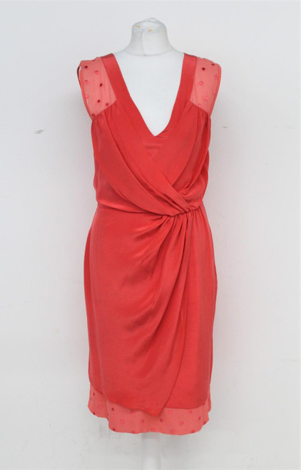 PAUL SMITH Ladies Red Silk V Neck Gathered Waist Sleeveless Dress EU42 UK10