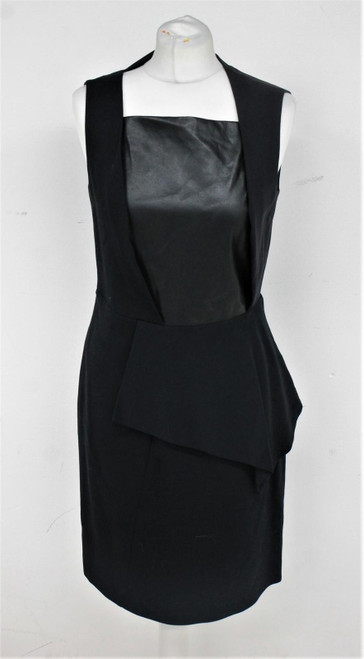 BOSS Hugo-Boss Ladies Black Wool Blend Faux Leather Sleeveless Peplum Dress UK10