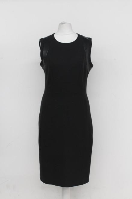 HUGO BOSS Ladies Black Knee Length Sleeveless Round Neck Shift Dress UK8