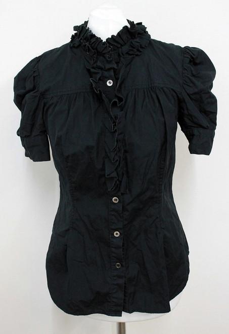 DIANE VON FURSTENBERG Ladies Black Ruffle Front Short Sleeve Blouse US6 UK10
