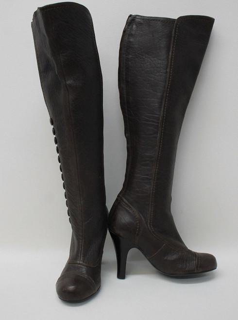LANVIN Ladies Dark Brown Leather Rear Zip Button Side Knee High Boots EU36 UK3
