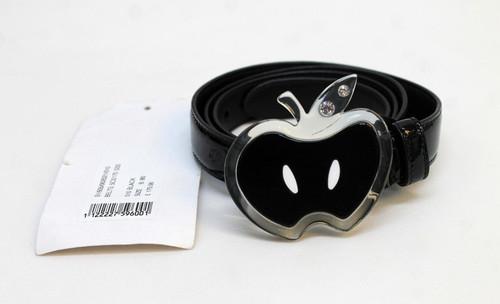"MIU MIU Ladies 5C 5170 S3S Black Patent Leather Fruit Buckle Thin Belt W32"" NEW"