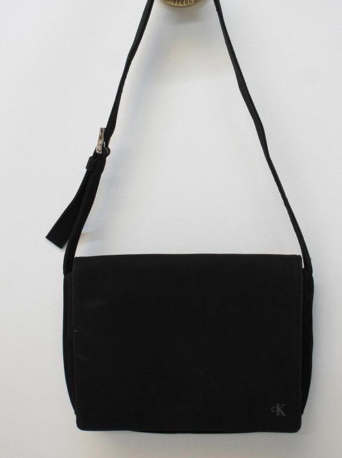 CALVIN KLEIN Ladies Black Nylon Square Flap Over Zipper Small Satchel Handbag