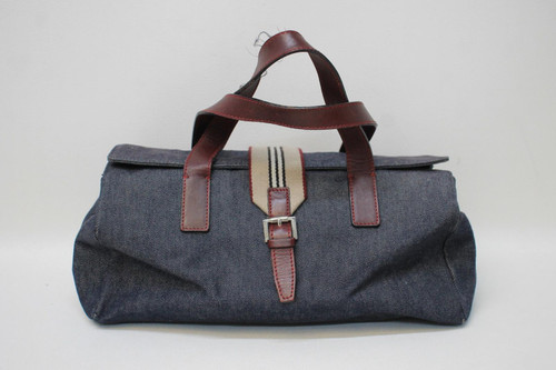 BURBERRY Ladies Blue Denim Beige Burgundy Red Leather Strap Medium Tote Handbag