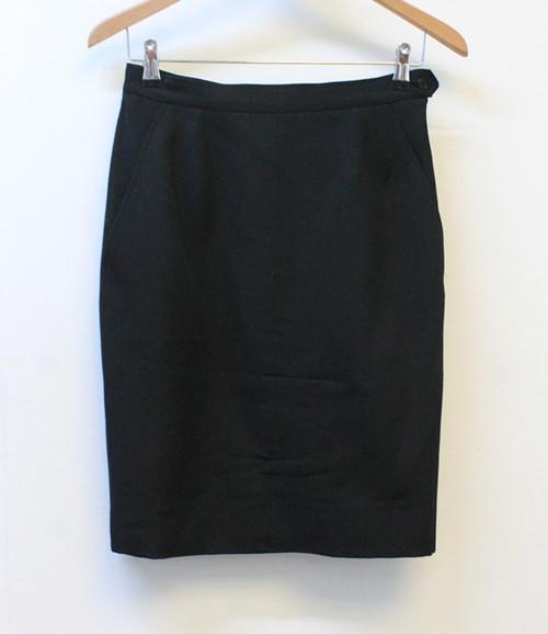 YVES SAINT LAURENT Ladies Black Pure Wool Side Zip Pencil Skirt EU38 UK10