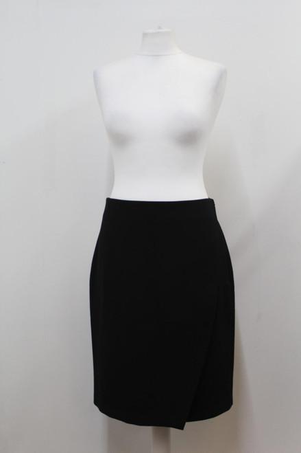 DIANE VON FURSTENBERG Ladies Black Stretch Knit Front Vent Pencil Skirt UK10 NEW