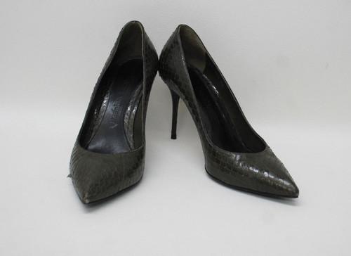 ALEXANDER MCQUEEN Ladies Khaki Green Snake Skin Leather Court Shoes EU38 UK5