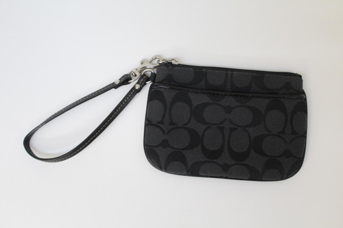 COACH Ladies Black Canvas Embroidered Logo Zip Up Clutch Bag Purse Small