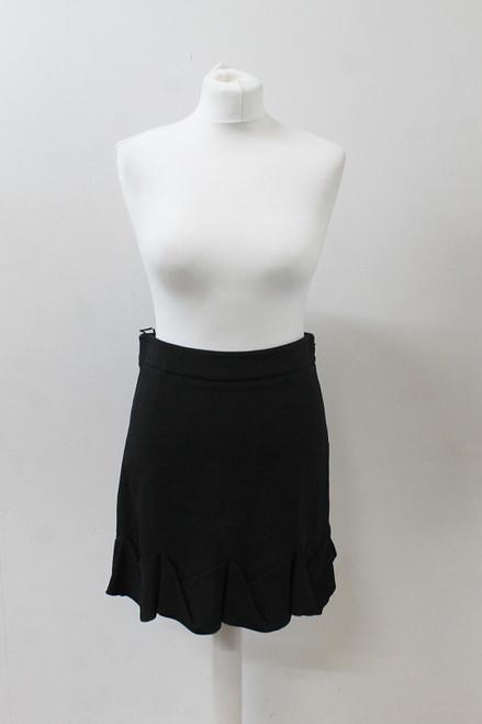 STELLA MCCARTNEY Ladies Black Ruffle Hem Side Zip Stretch Mini Skirt IT42 UK12