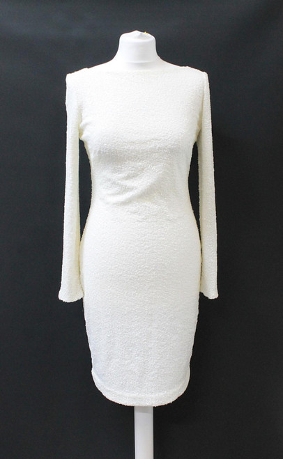 LAUREN RALPH LAUREN Ladies White Sequined Long Sleeve Evening Dress US4 UK8